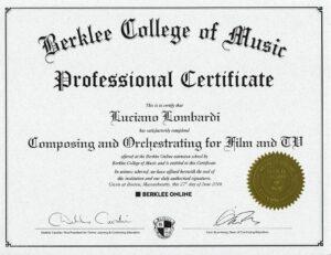 Berklee Professional Certificate Luciano Lombardi
